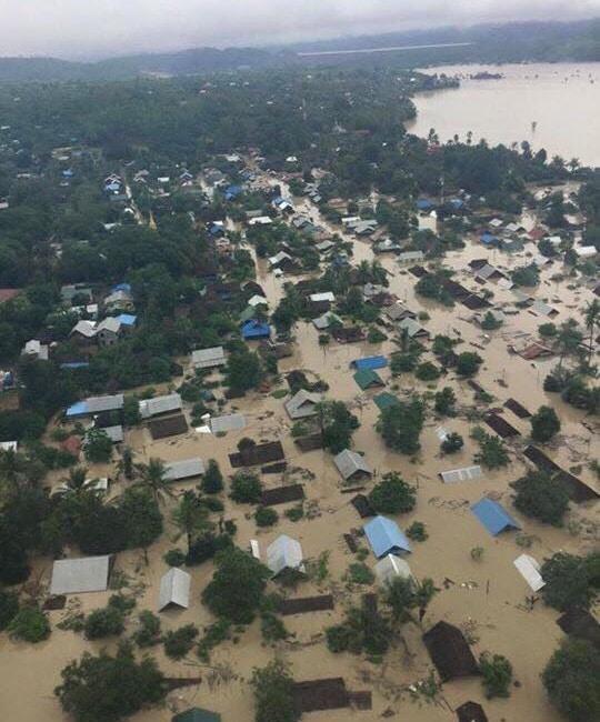 ミャンマー洪水上空写真