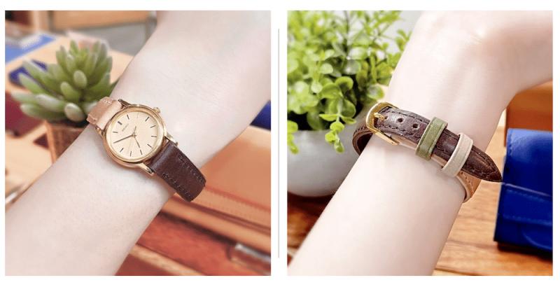 異なるカラーを組み合わせた時計ベルトと遊革
